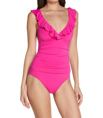 women's bleu by rod beattie rufflicious one-piece swimsuit, size 14 - pink