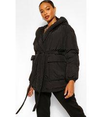 gewatteerde wikkel jas met riem en capuchon, black