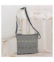 crocheted cotton shoulder bag, 'chevron celebration in grey' (guatemala)