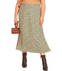 plus size women's reformation bea floral midi skirt, size 18w - green