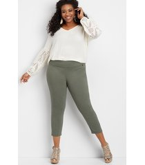 maurices plus size womens pull on bengaline crop pants green