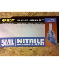 100 hardy powder free disposable nitrile rubber gloves - size large