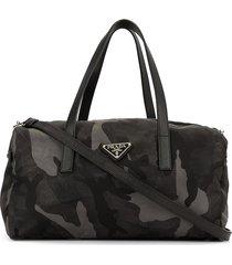prada pre-owned camouflage pattern duffle bag - black