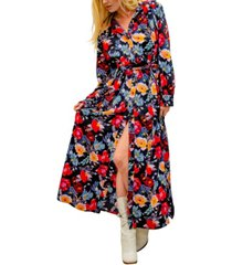 kindom christine long sleeve floral maxi shirt dress