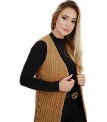 casaco livora longo colete tricot feminina