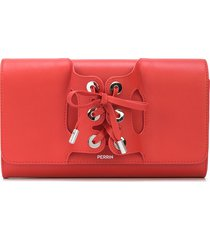 perrin paris lace-up detail clutch bag - red