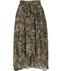 midi-rok met bladerenprint zilio  groen