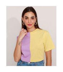 t-shirt de algodão bicolor manga curta decote redondo mindset multicor