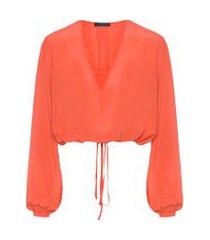 camisa feminina seda - laranja