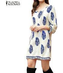 zanzea mujeres bohe 3/4 manga sueltos en la vendimia de impresión camisa de vestir fiesta en la playa larga (azul) -azul