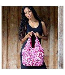 cotton hobo shoulder bag, 'pink wilderness' (indonesia)
