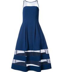 aidan mattox flared sheer-panel midi dress - blue