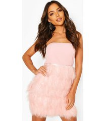 bandeau feather skirt mini dress, soft pink