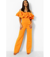 wide leg scuba jumpsuit met ruches en uitgesneden hals, orange