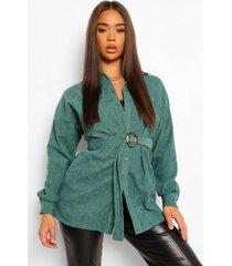 oversized corduroy blouse met ceintuur, groen