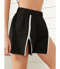 yoins shorts negros con cremallera en la parte delantera