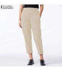 zanzea mujeres elásticos de la cintura de algodón de lino harem damas pockets ocasional de los pantalones -beige