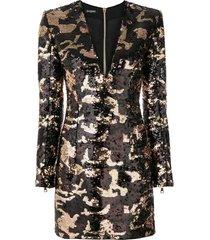 balmain camouflage sequin dress - black