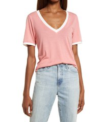 treasure & bond ringer v-neck t-shirt, size small in coral mauve- ivory at nordstrom