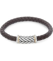 14k yellow gold two-tone leather bracelet