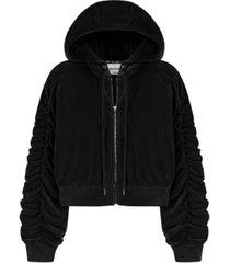 juicy couture zip hoodie with ruched sleeve jacket