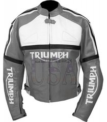 grey color men's bikers handmade triumph motorcycle leather jacket