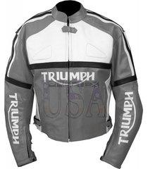 grey color men's bikers handmade triumph motorcycle leather jacket