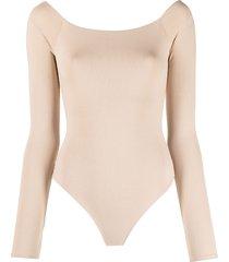 alice+olivia wide-neck bodysuit - neutrals