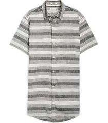 lucky brand gray stripe short sleeve sport shirt