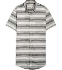 lucky brand gray stripe short sleeve sport shirt