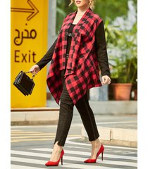 plaid buckle front shawl collar plus size coat