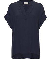 connor top blouses short-sleeved blauw modström