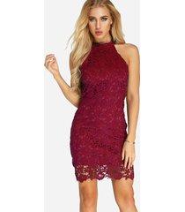 burgundy halter lace  bodycon midi dress