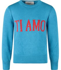 alberta ferretti turquoise sweater with red ti amo writing for kid