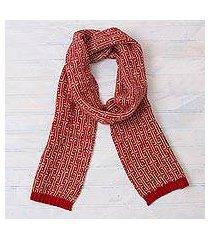 100% alpaca scarf, 'crimson labyrinth' (peru)