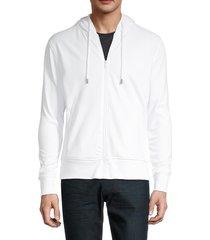 roberto cavalli men's zip-front logo-back hoodie - white - size xxl