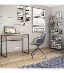 escritório completo 1 gaveta carvalho/preto 2078 - brastubo