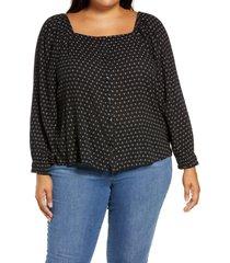plus size women's caslon summer crepe front button blouse