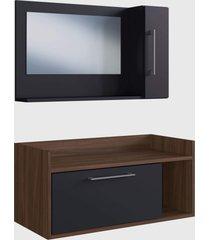 conjunto de balcão e espelheira p/ banheiro aiden preto e madeirado escuro e estilare móveis