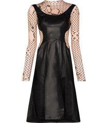 marine serre burnt print layered dress - black