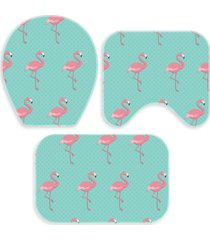 kit 3 tapetes decorativos para banheiro wevans flamingo turquesa - azul - dafiti