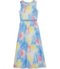 rare editions big girls pleated chiffon tie-dye maxi dress