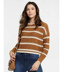 suéter cropped tricô listrado marisa feminino