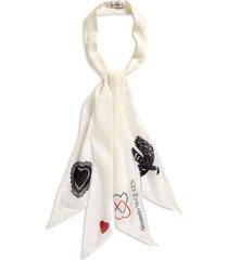 alexander mcqueen mystic wool skinny scarf in ivory at nordstrom