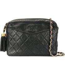 chanel pre-owned tassel chain shoulder bag - black