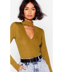 womens cut-out and about high-leg bodysuit - olive