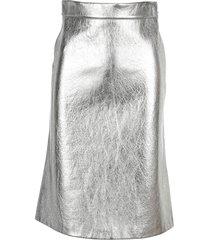 prada leather metallic straight midi-skirt