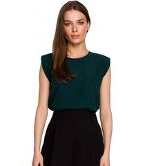 blouse style s260 mouwloze blouse met gewatteerde schouders - groen