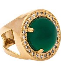 anel kumbayá  redondo  semijoia banho de ouro 18k pedra natural jade e cravaçáo de zircônias - tricae