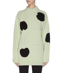 polka dot intarsia oversized sweater